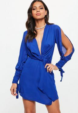 Blue Slit Sleeve Knot Front Wrap Dress
