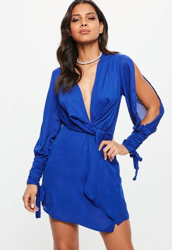 Blue Slit Sleeve Knot Front Wrap Dress Missguided