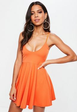Orange Strappy Skater Dress