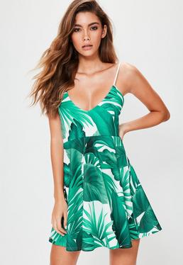 Green Leaf Print Strappy Skater Dress