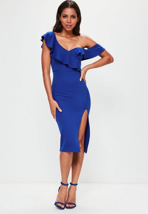 Blue Scuba Frill Bodice Midi Dress