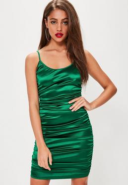 Green Satin Ruched Side Mini Dress