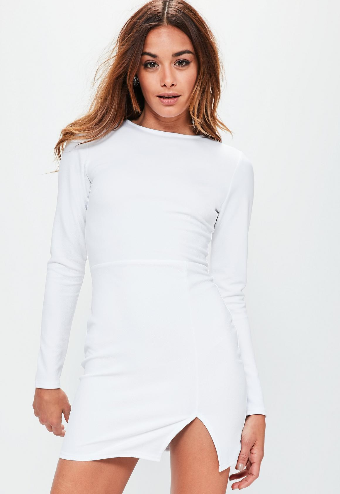 White Crepe Long Sleeved Bodycon Dress | Missguided
