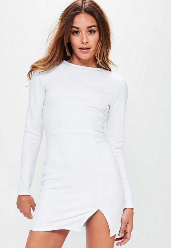 White Crepe Long Sleeved Bodycon Dress