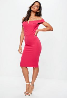 Pink V Front Bardot Midi Dress