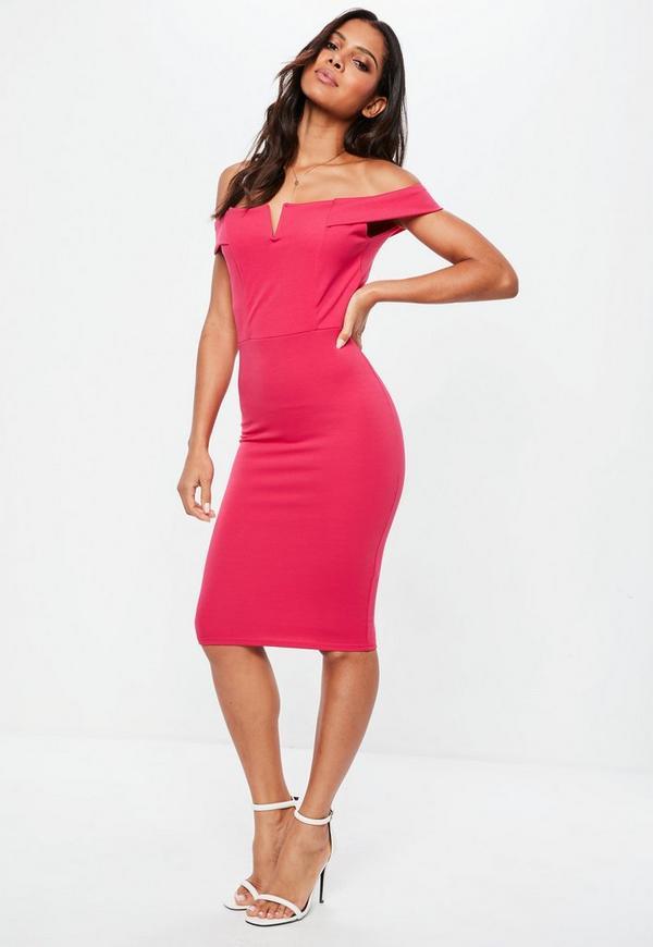 Pink V Front Bardot Midi Dress