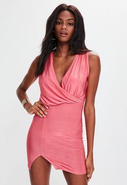 Pink Slinky Gather Detail Wrap Dress