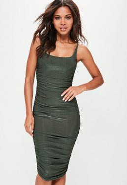 Khaki Slinky Gathered Side Midi Dress