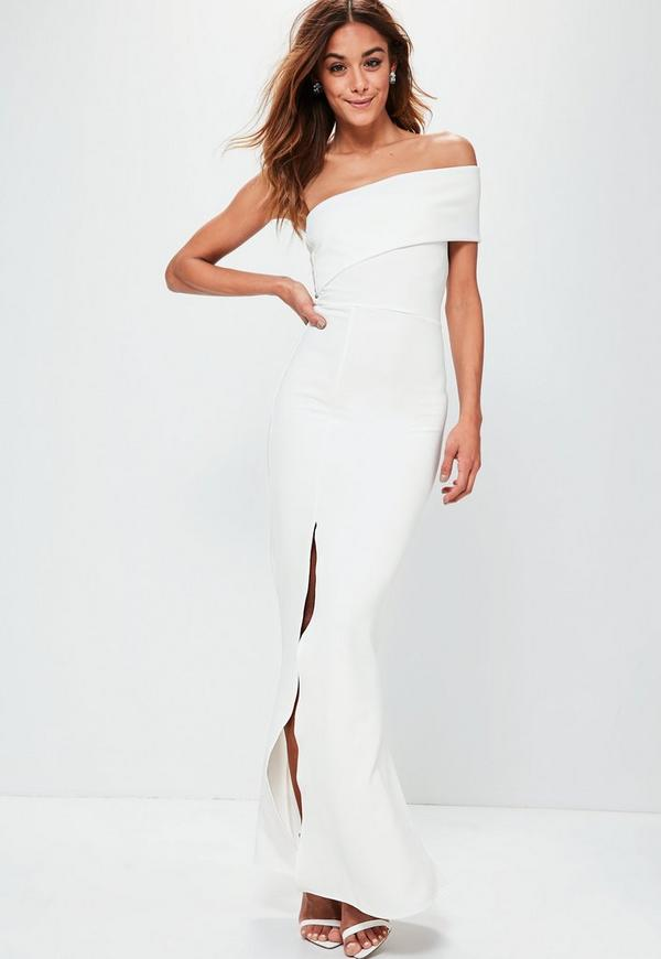 White One Shoulder Maxi Dress | Missguided