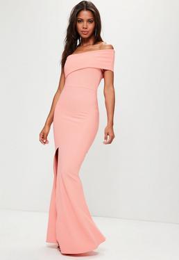 Robe longue rose asymétrique