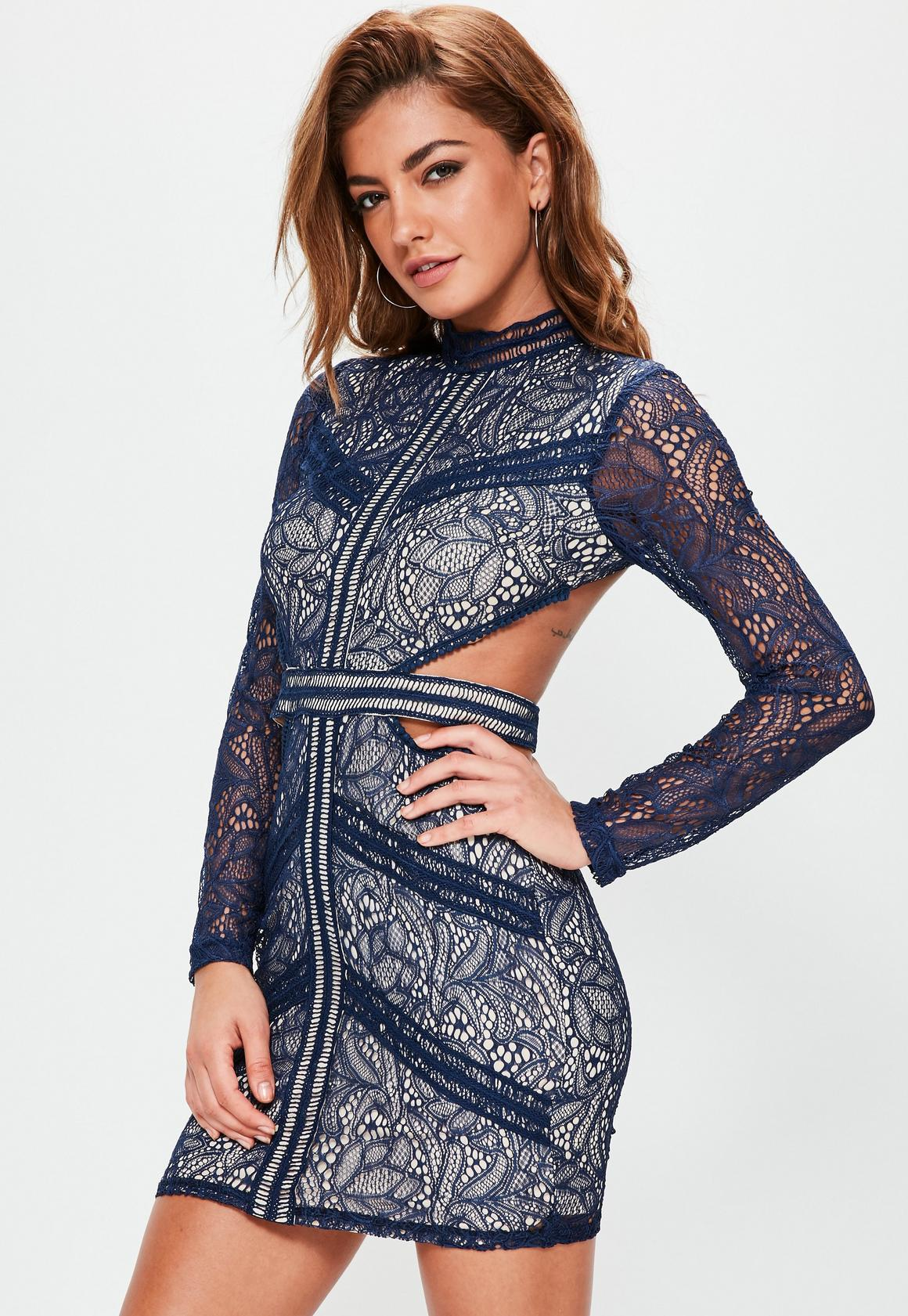 Navy Lace Waist Cut Out Long Sleeve Bodycon | Missguided