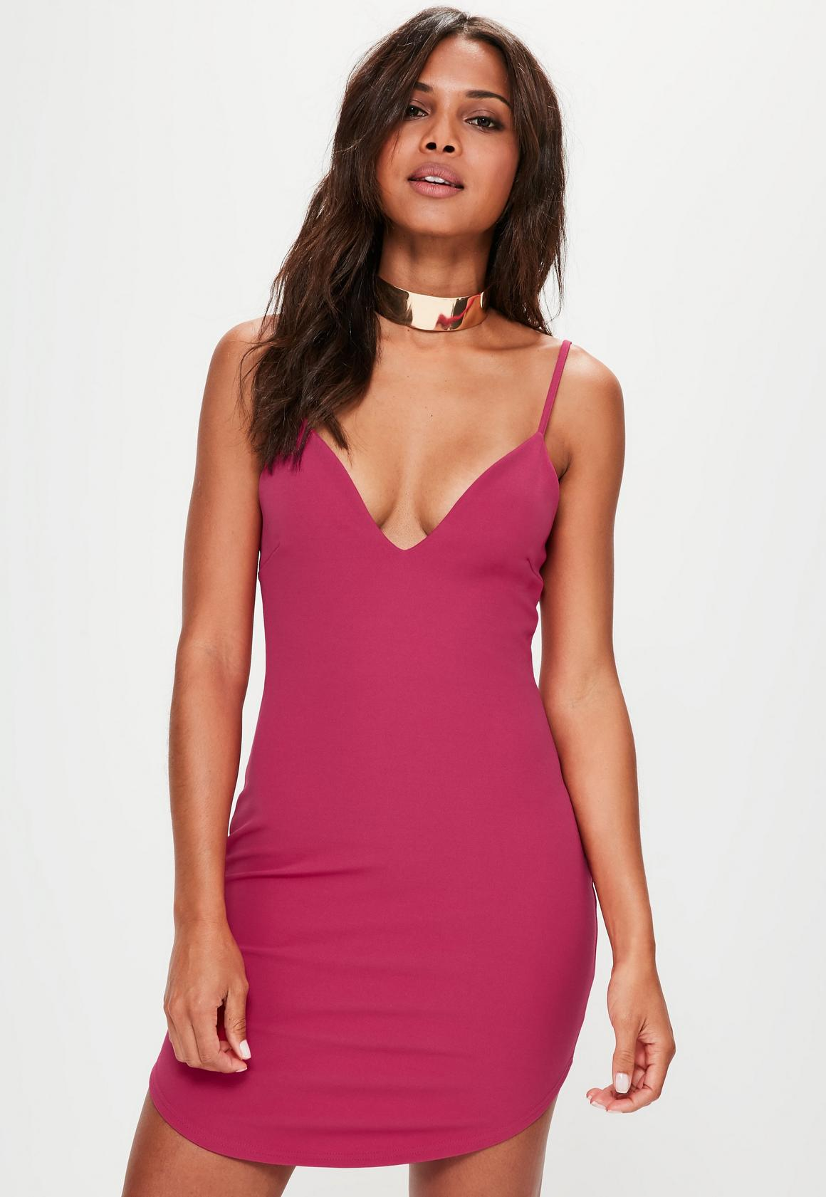 Pink Strappy Plunge Bodycon Dress | Missguided