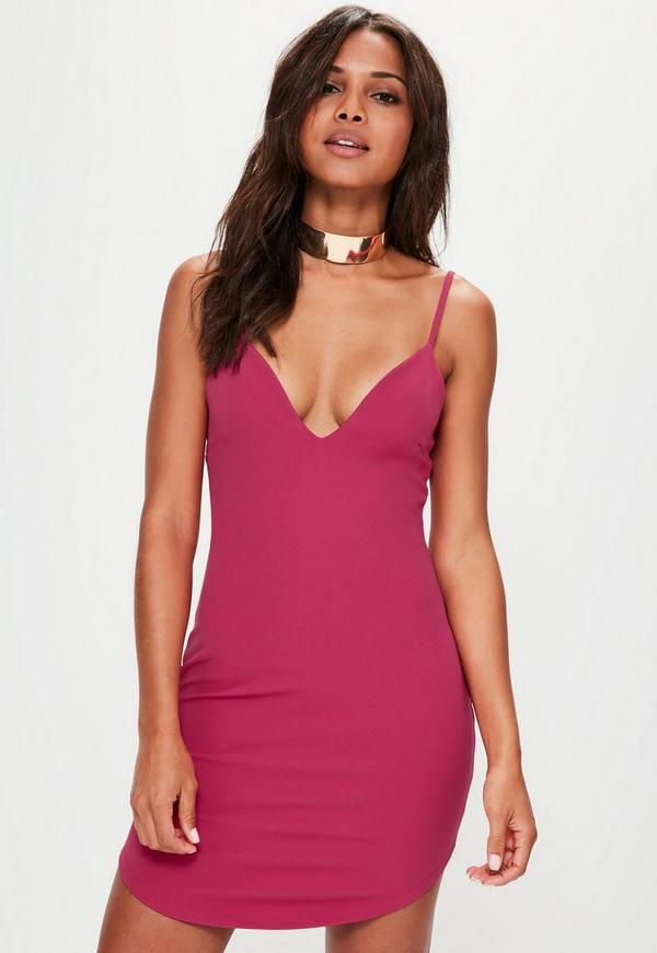 Pink Strappy Plunge Bodycon Dress