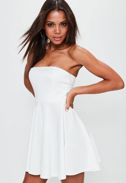 White Scuba Bandeau Skater Dress