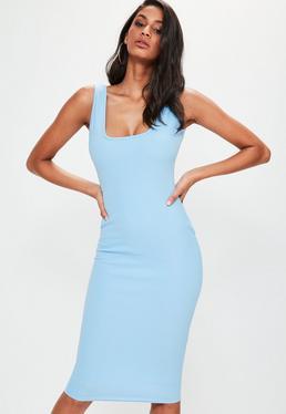 Blue Square Neck Open Back Midi Dress
