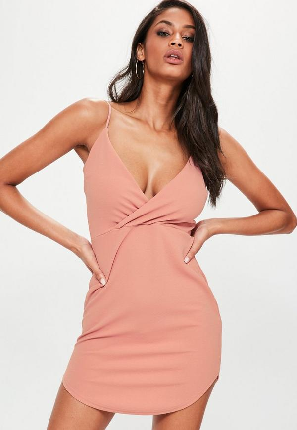 Pink Strappy Wrap Plunge Bodycon