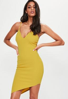 Yellow Strappy Plunge Asymmetric Hem Midi Dress