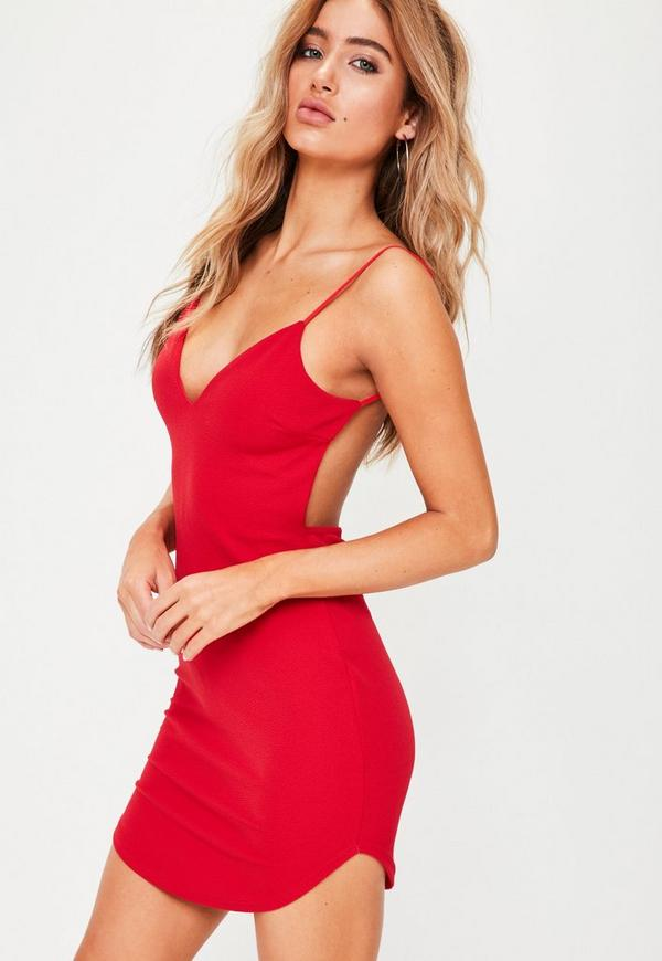 Red Backless Plunge Bodycon Dress