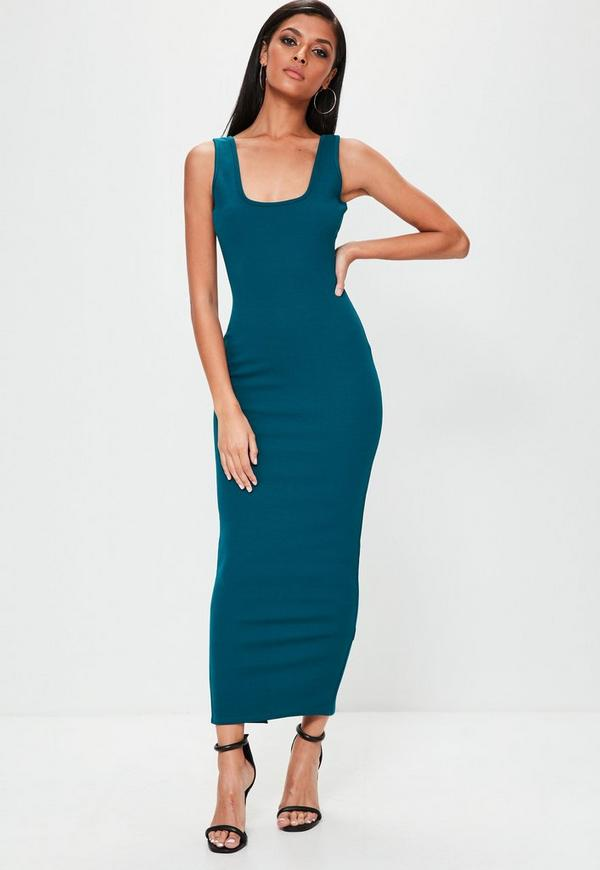Blue Square Neck Open Back Ankle Grazer Maxi Dress