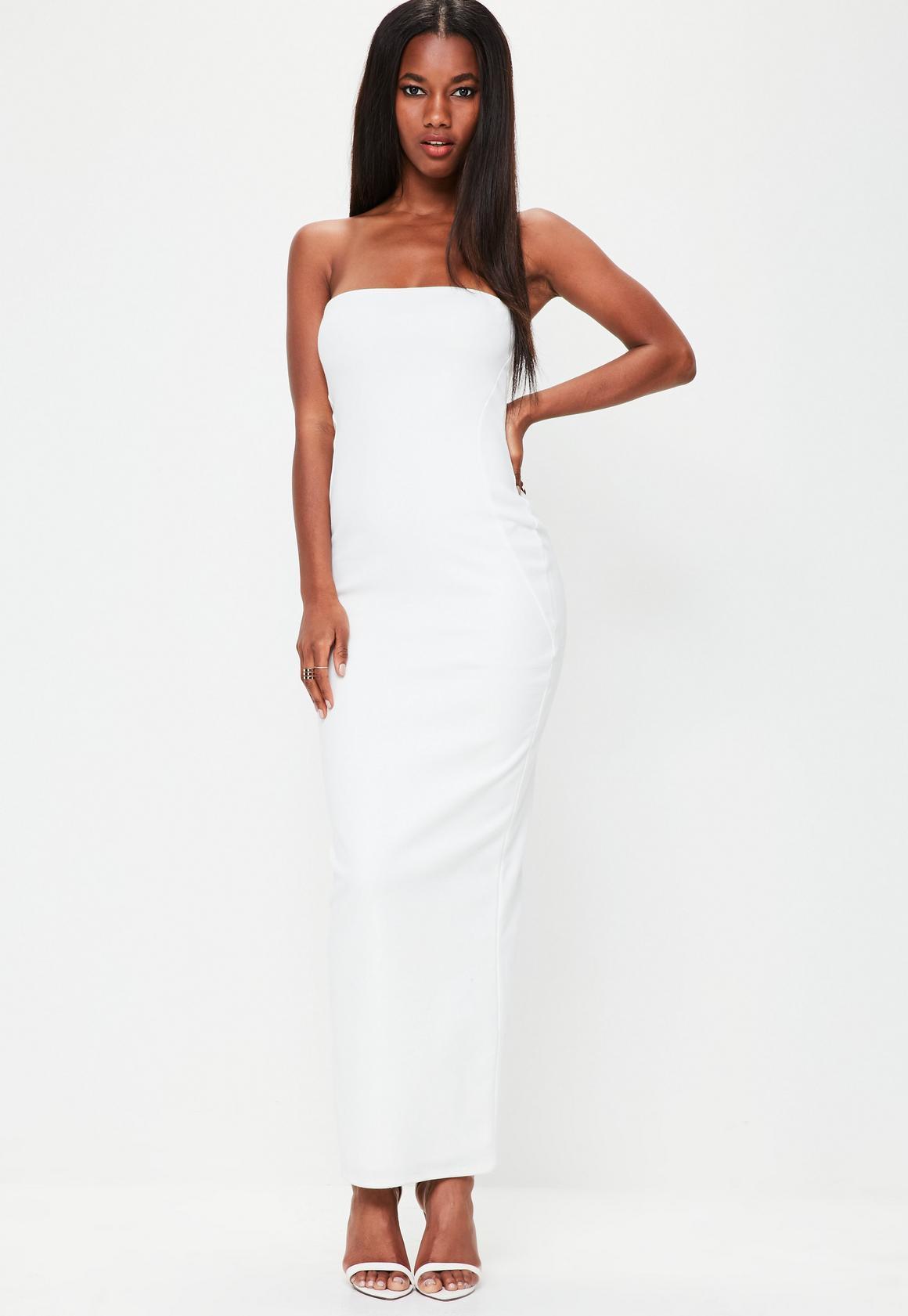 White Bandeau Maxi Dress   Missguided Australia