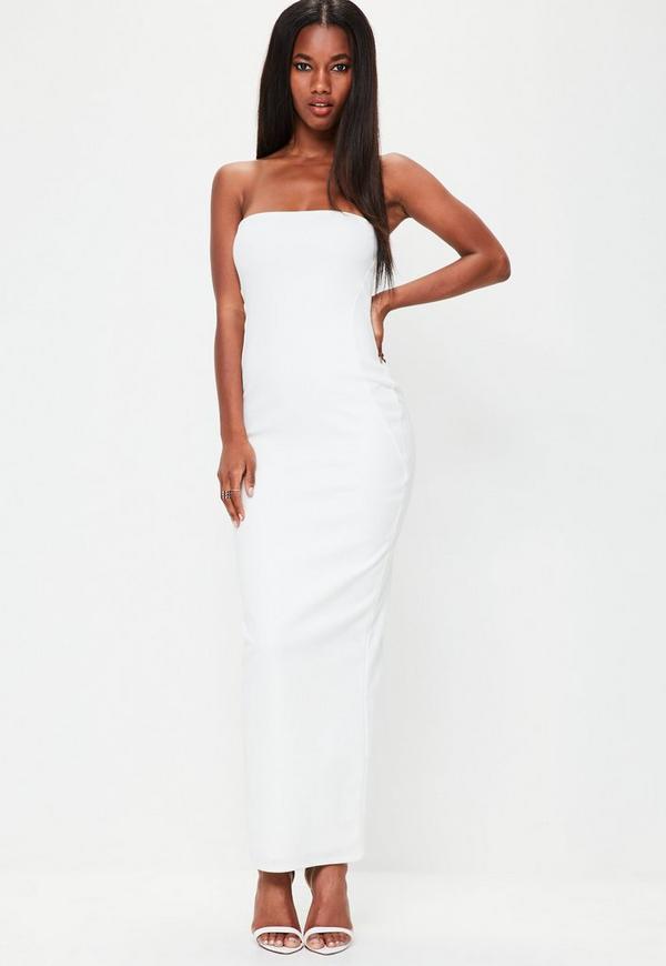 White Bandeau Maxi Dress Missguided