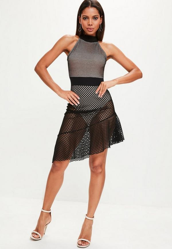 Black Fishnet Mesh Halterneck Skater Dress