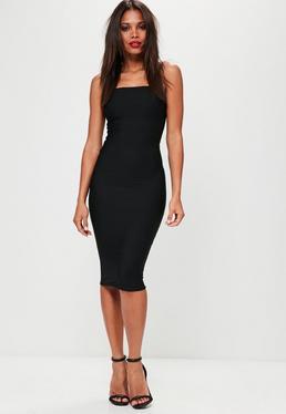Black Bandeau Bandage Midi Dress
