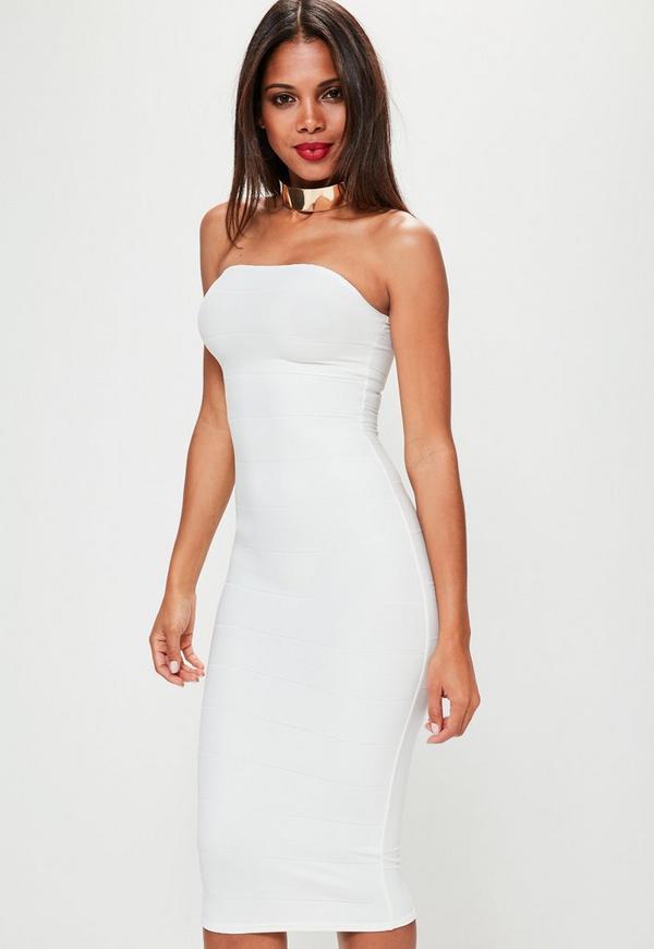 White Strapless Bandage Bodycon Dress