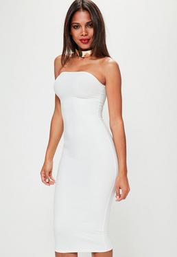 White Strapless Bandage Midi Dress
