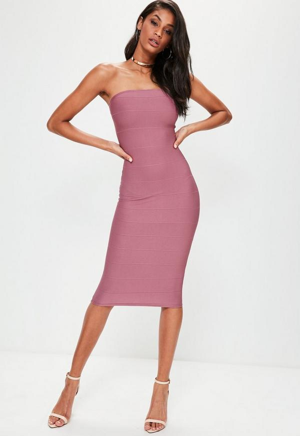Purple Strapless Bandage Bodycon Dress