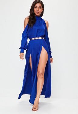 Blue Split Front Maxi Dress