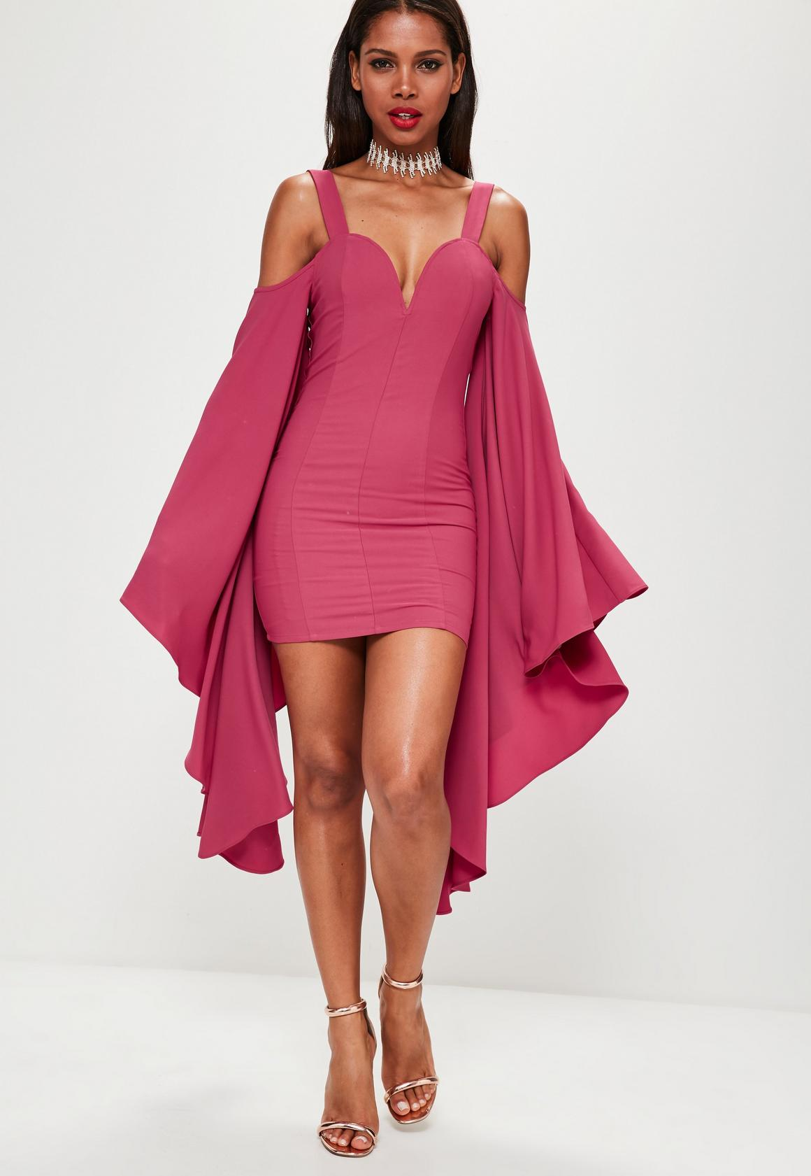 Pink Crepe Flared Sleeve Bodycon Dress | Missguided
