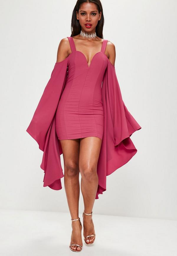Pink Crepe Flared Sleeve Bodycon Dress