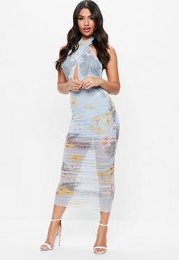 Blue Sleeveless Mesh Wrap Ruched Maxi Dress