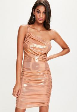 Orange One Shoulder Ruched Metallic Bodycon Dress