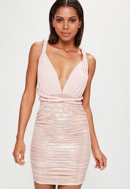 Pink Slinky Foil Pleated Tie Bodycon Dress