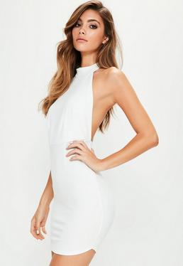 White Halterneck Backless Bodycon Dress