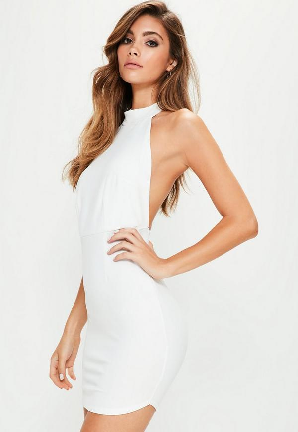 White Halterneck Backless Bodycon Dress