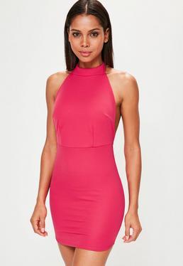 Rückenfreies Neckholder Minikleid in Pink