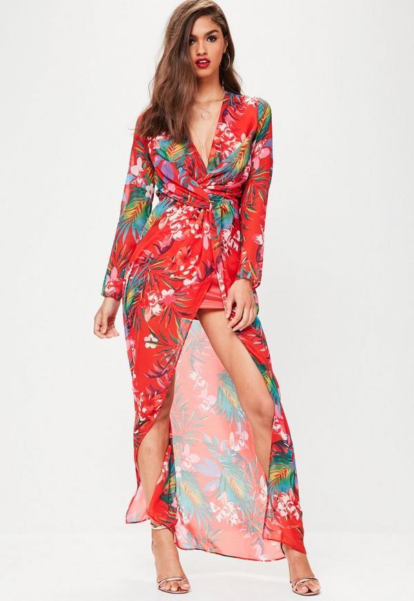 Red Palm Print Chiffon Twist Front Maxi Dress