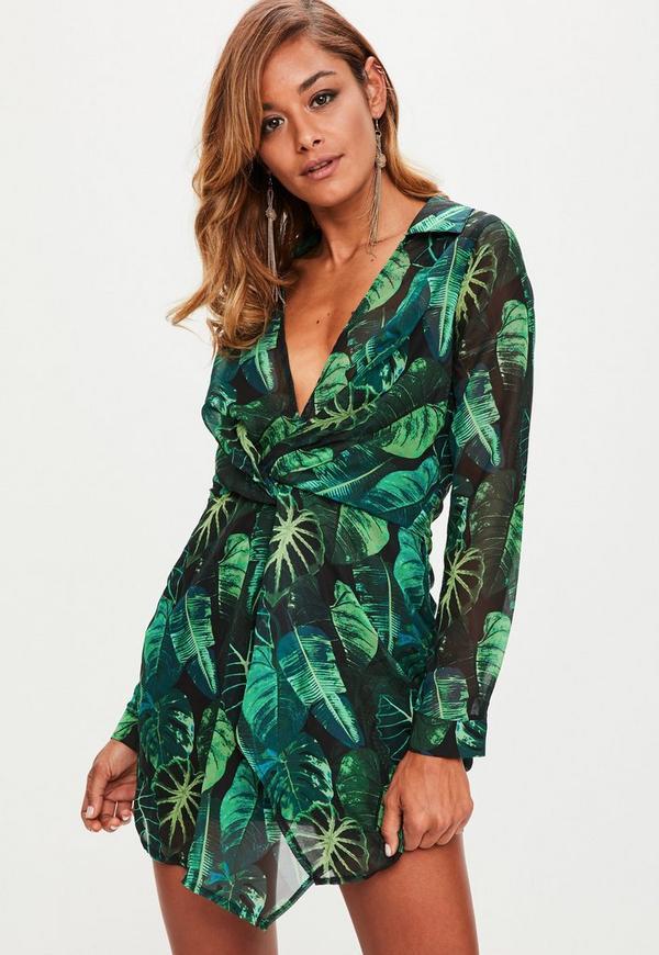 Green Leaf Print Twist Front Chiffon Mini Dress