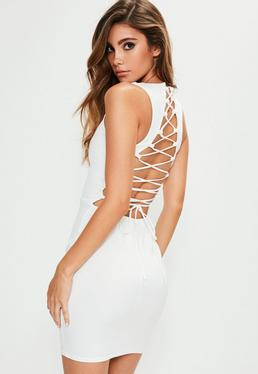 White Sleeveless Lace Up Back Bodycon Dress