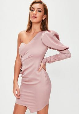 Pink Puff Sleeve One Shoulder Mini Dress