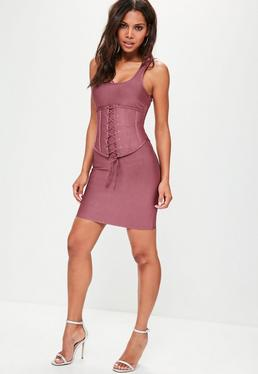 Purple Corset Bandage Mini Dress