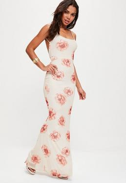 Cream Strappy Floral Scoop Back Maxi Dress