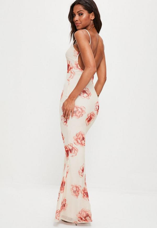 Cream Strappy Floral Scoop Back Maxi Dress. $67.00. Previous Next - Cream Strappy Floral Scoop Back Maxi Dress Missguided