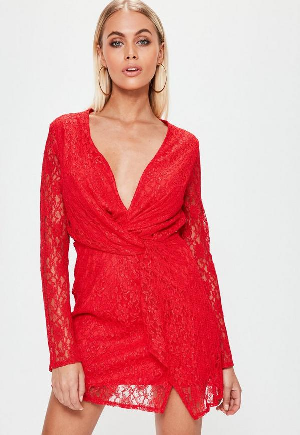 Red Lace Twist Front Shift Dress