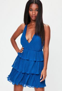 Blue Pleated Criss Cross Tie Mini Dress