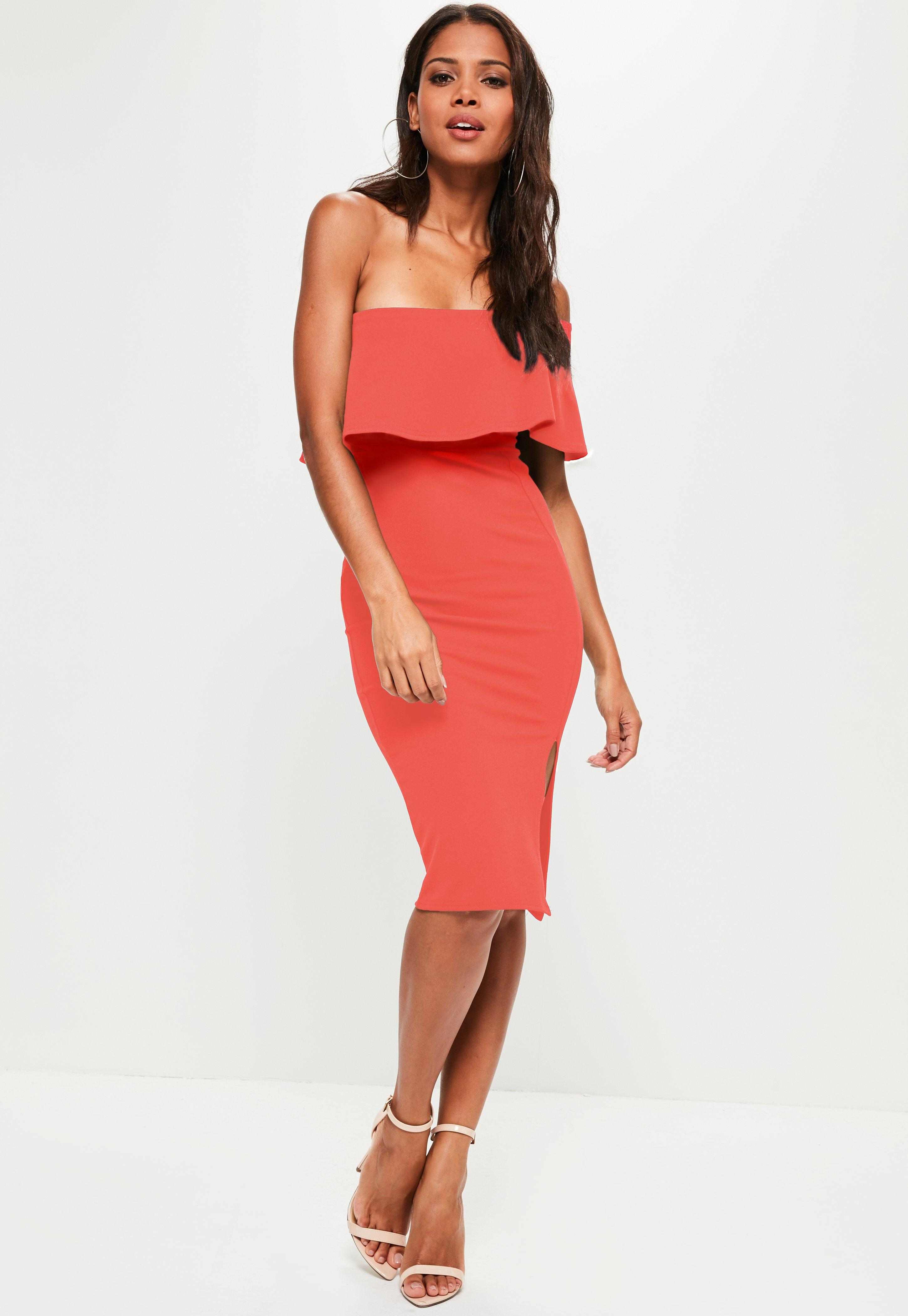 Buy Cheap Cheapest Price Missguided Blush One Shoulder Frill Split Midi Dress Free Shipping Cheapest Price Free Shipping Best Store To Get OAQI2N
