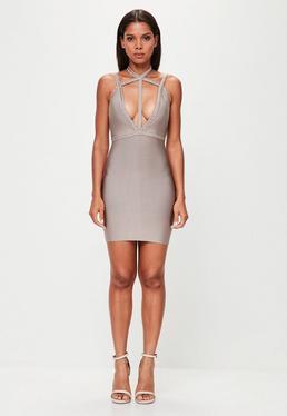 Peace + Love Nude Plait Strap Bandage Bodycon Dress